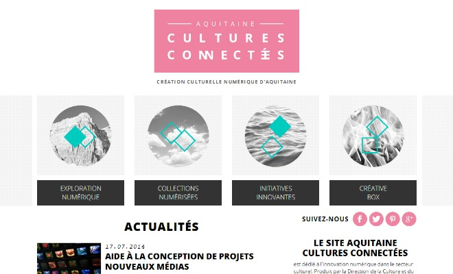 Capture d'écran du site internet culturesconnectees.aquitaine.fr