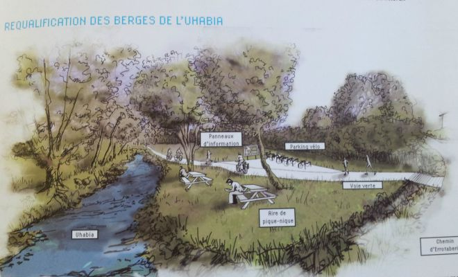 Illustration d'une requalification possibles des berges de l'Uhabia