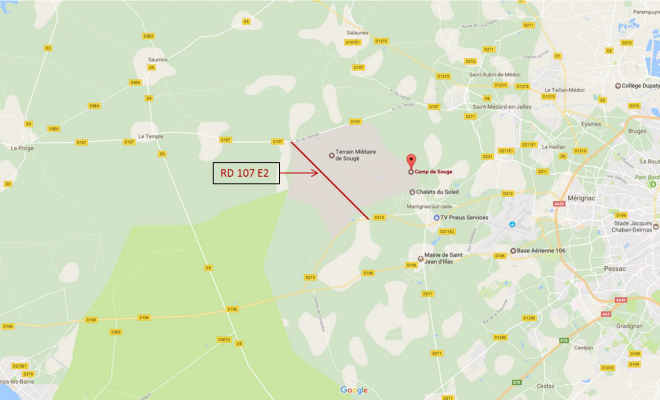Camp de Souge: Fermeture partielle de la RD 107 E2 - Google map