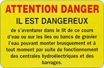 Panneau danger submersion pêche